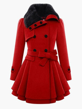 Casaco vermelho envoltório manga longa Peacoat Faux Fur Collar Belt inverno anágua casaco