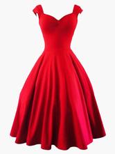 Vintage Kleider Rot mit Reißverschluss 50er jahre mode ärmellos V-Ausschnitt Spandex im altmodischen Stil