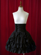 Lolitashow Pure Black High Waist Lolita Short Skirt with Layered Ruffles