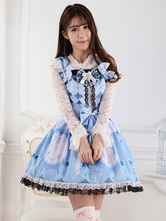 Lolitashow Sweet Butterfly Print Bandage Lace Lolita Dress