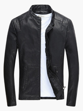 Men Leather Jacket Stand Collar Motorcycle Jacket Solid Color Long Sleeve PU Jacket