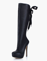 Black Platform Knee High Boots Womens Leather Bows Round Toe Stiletto Heel Winter Boots