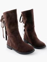 Dedo del pie redondo sexy Micro gamuza superior plana mediados botas de becerro tmNaJ