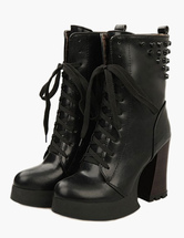 Rivets Round Toe Spool Heel Casual Booties