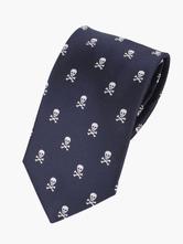 Deep Blue Skull Printed Polyester Mens Dress Tie