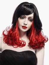 Anime Costumes AF-S2-544875 Sexy Red Long Curly Two Tone Sythentic Women's Wig In 20 Inches