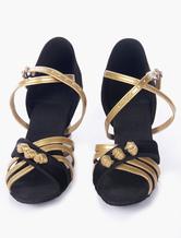 Zapatos de suela suave satinado profesional salón bicolor abierto j7M5q5z