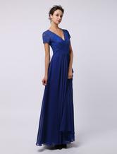 Elegante com decote em v-line renda mangas curtas lindo vestido para mãe da noiva