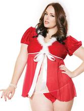 Anime Costumes AF-S2-546383 Sexy Christmas Costume White Plus Fur Trim Christmas Lingerie Mesh Splice Hooded Santa Babydoll Set