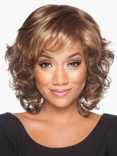 Anime Costumes AF-S2-546897 Light Brown Curly Waves Short Women's Wigs In Heat Resistant Fibers