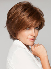 Anime Costumes AF-S2-546937 Light Brown Chic Side Swept Bangs Women's Short Wigs In Heat-Resistant Fibers