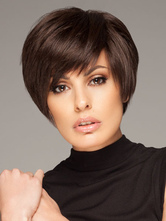 Anime Costumes AF-S2-546911 Synthetic Deep Brown Chic Women's Short Wigs In Side Swept Boycuts Hair