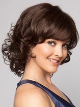 Anime Costumes AF-S2-546899 Classic Curl Bottom Women's Short Wigs In Brown Heat Resistant Fibers