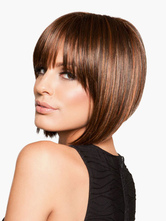 Anime Costumes AF-S2-546921 Mahogany Oblique Bobs Women's Short Wigs In Heat-Resistant Fibers