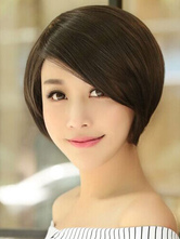 Anime Costumes AF-S2-546851 Black Asymmetric Bobs Short Women's Wigs In synthetic Fibers