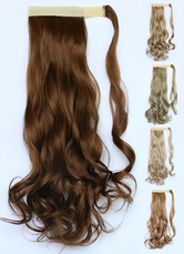AF-S2-546953 Magic Tape Long Curly Ponytail Extension 18 Inches In Heat-resistant