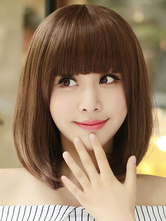 Anime Costumes AF-S2-546849 Brown Short Bobs Straight Women's Wigs In Heat-Resistant Fibers
