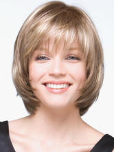 Anime Costumes AF-S2-546907 Golden Bobs Women's Short Wigs In Heat resistant Fibers With Bangs