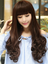 Anime Costumes AF-S2-546845 Straight Bangs Matte Long Women's Wave Bottom Wigs In synthetic Fibers