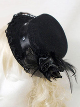 Lolitashow Gothic Black Lace Feather Hat Costume Accessories