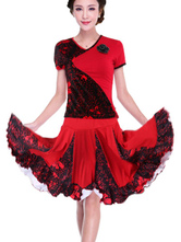 Anime Costumes AF-S2-547991 Women's Short Sleeve V-neck Multicolor Salsa Dance Costume