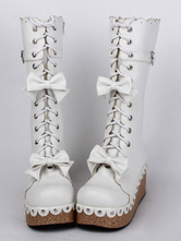 Lolitashow White Round Toe PU Leather Bows Lace Up Lolita Boots