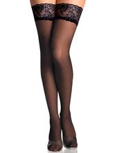 Lolitashow Black Over-knee Thigh High Lolita Socks Lace Trim