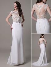 Trumpet Wedding Dress Lace Bateau Neckline Illusion Back Sash Bow Bridal Dress With Brush Train