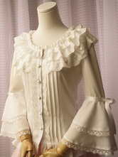 White Chiffon Lolita Blouse Long Hime Sleeves Lace Trim Round Ruffles Collar