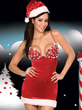 Anime Costumes AF-S2-548879 Sexy Christmas Costume Halter Rhinestone 2 Piece Christmas Lingerie