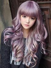 Lavender Cosplay Wig Blunt Bangs Curly Long Halloween