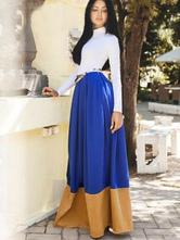 Color Block Pleated Maxi Dress