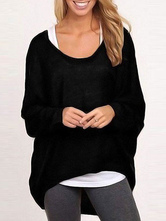 Women's Black Sweater Long Sleeve High Low Pullover Knitted Top