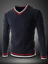 Пуловер для мужчин V Шея Полоса Академический стиль Темный флот Вязаный свитер