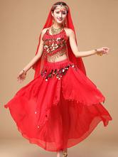 Carnevale Abito da ballo di Bollywood in chiffon con sparkle rosso scintillante da donna Halloween