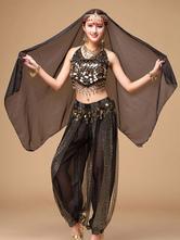 Костюм танца живота черный шифоновый женский болливудский танец платье из 3-х частей