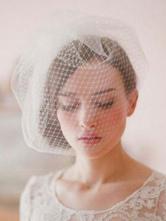White Tulle Bride's Wedding Blusher Veil