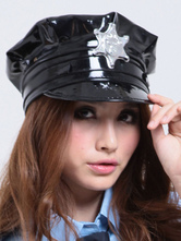 Anime Costumes AF-S2-555227 Halloween Black Cop PU Leather Cosplay Cap For Women