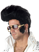Anime Costumes AF-S2-555207 Halloween Black Elvis Presley Wig Costume Accessories