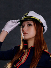 Anime Costumes AF-S2-555225 Halloween White Cop Canvas Cosplay Cap For Women