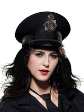 Anime Costumes AF-S2-555229 Halloween Black Cop Canvas Cosplay Cap For Women