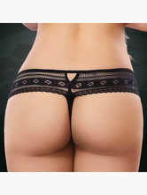 Black Semi-Sheer Polyester Panties for Women
