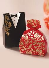 Bride&Groom Card Paper Favor Boxes Set of 12