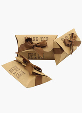 Brown Square Specialty Paper Wedding Favor Boxes Set of 12