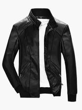 Schwarz Radfahrer Jacke 2020 Stand Kragen Naht Design Reißverschluss Lange Ärmel Leder Jacke Für Männer