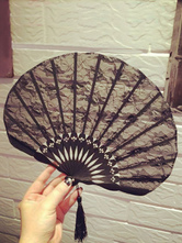 Anime Costumes AF-S2-558275 Halloween Black Sexy Lace Folding Fan for Women