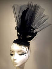 Anime Costumes AF-S2-558215 Halloween Black Baroque Synthetic Head Band With Feather