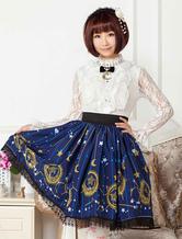 Deep Blue Star Printed Polyester short Lolita Skirt dress for Girls