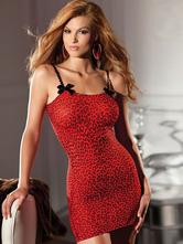 Rote Leoparden Print Chemise für Damen