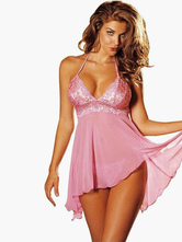 Sexy Pink Polyester Babydoll for Women